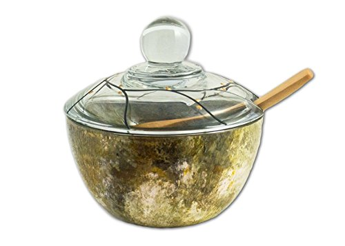 (Sand and Water Creations Hand Painted Glass Sugar Bowl with Lid and Spoon 4.5