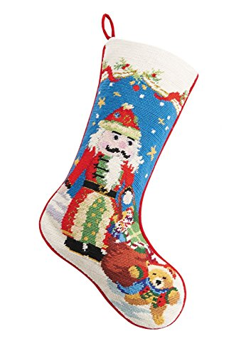 Nutcracker Santa with Teddy Bear and Gifts Christmas Stocking, Wool & Velvet Needlepoint, 11 Inch X 18 Inch (Teddy Bear Christmas Stocking)