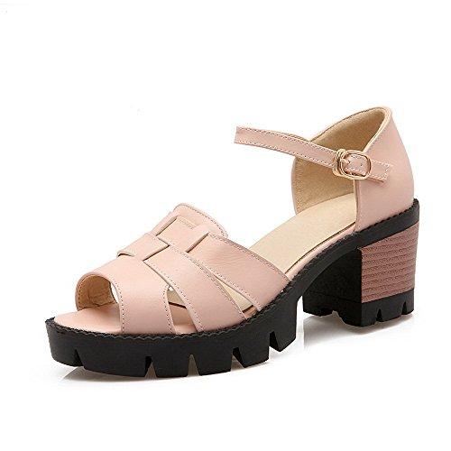AllhqFashion Women's Open Toe High Heels Solid Buckle Sandals Pink K4GZ85cN