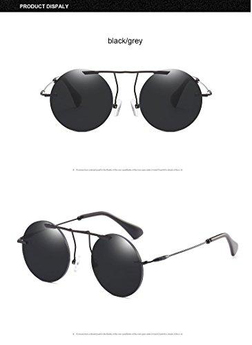 de Luxe noir Hommes Retro Fframe gris Vintage Soleil Femmes en de Classique ZHANGYUSEN Lunettes Métal Ronde Steampunk Eyewear a0RWxnP8