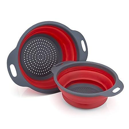Küchen-Schüssel mit Sieb-Ausguss Blau Seiher Haushalt Küche Camping Nudelsieb