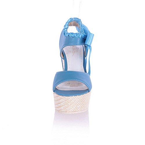 AllhqFashion Mujeres Plataforma Sintético Sólido Cordones Puntera Abierta Sandalia Azul