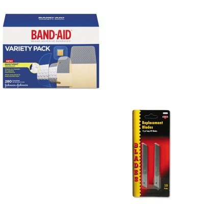 Quickpoint Snap Off Straight Handle (KITCOS091473JOJ4711 - Value Kit - Cosco QuickPoint Snap-Off Straight Handle Retractable Knife Replacement Blade (COS091473) and Band-aid Sheer/Wet Adhesive Bandages (JOJ4711))