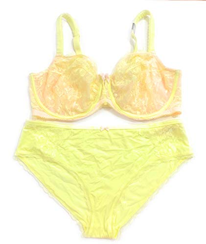 (Victoria's Secret Body Unlined Demi Underwire 38DDD Bra Set with Matching Hiphugger Panty XLarge Light Yellow)