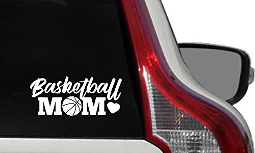 Price comparison product image Mom Basketball Heart Car Vinyl Sticker Decal Bumper Sticker for Auto Cars Trucks Windshield Custom Walls Windows Ipad Macbook Laptop Home and More (WHITE)