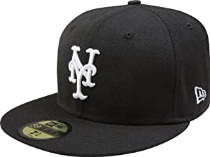MLB New York Mets Black with White 59FIFTY Fitted Cap, 7 3/4