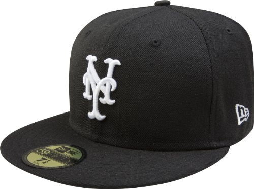 MLB New York Mets Black with White 59FIFTY Fitted Cap, 7 1/4