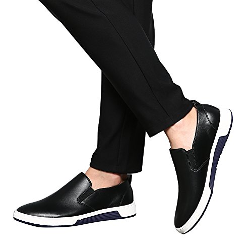 XMWEALTHY Men's Casual British Style Slip on Loafers Flats Business Dress Shoes Black US 11 by XMWEALTHY (Image #7)