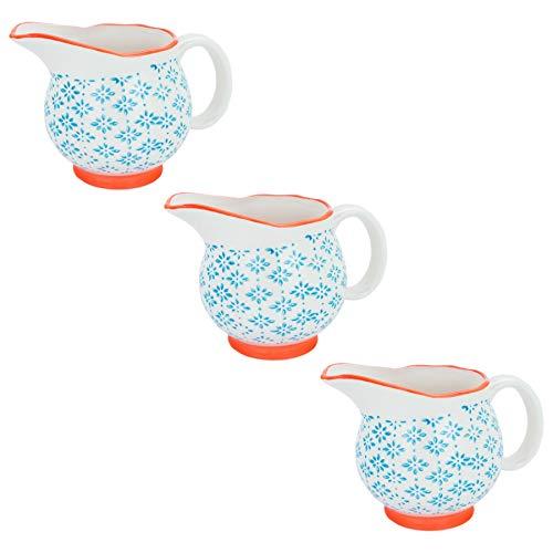 Patterned Porcelain Milk/Gravy/Cream Jug - Blue/Orange - 300ml - Box of 3