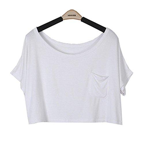 Nimble Joy Women Short Sleeve Pocket Lose Exposed Belly Tops Coat T-shirt