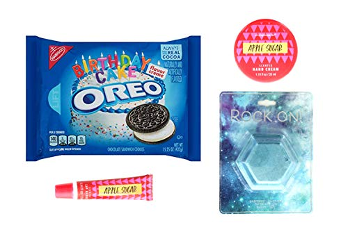 Birthday Cake Oreos Cookies Chocolate Sandwich Cookies |Jewel Bath Fizzer, 1 Apple Sugar Hand Cream, 1 Lip Gloss | Gifts For Women and Teen Girls