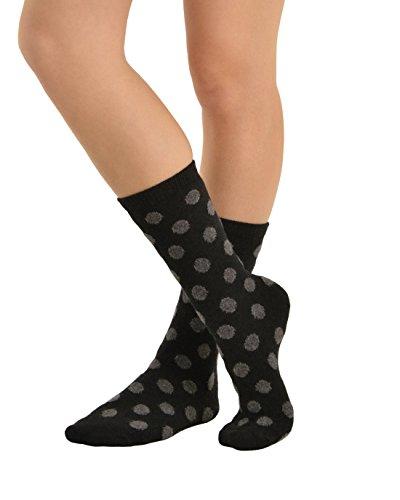 Cashmere Blend Crew Socks (Polka Dot Crew Socks Print Cashmere Blend 13 Color Choices Great Gift Idea Color:: Black / Grey)