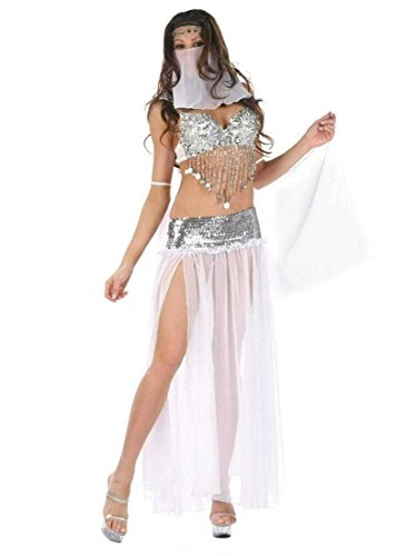 Sequin Belly Dance Costumes Arabia Princess Cosplay Uniform Temptation (White) (Sexy Belly Dance Costumes)
