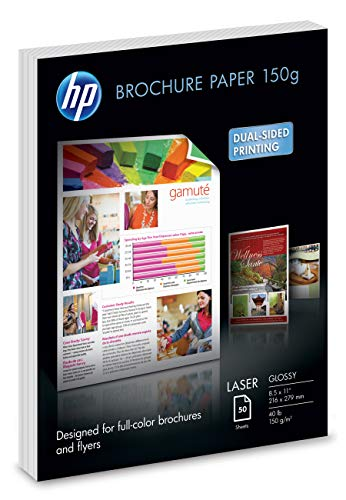 HP Brochure Paper | Glossy | 8.5x11 | 50 Sheets