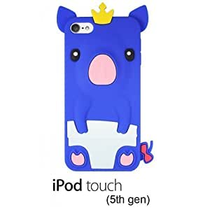 OnlineBestDigital - Piggy Style Soft Silicone Case for Apple iPod Touch 5 - Blue