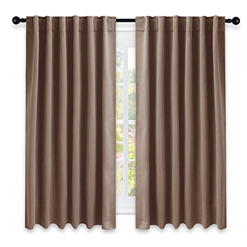 rtains and Drapes for Kitchen - (Cappuccino Color) 52 inch Wide by 63 inch Long, Two Panels Set, Thermal Insulated Blackout Window Drapes ()