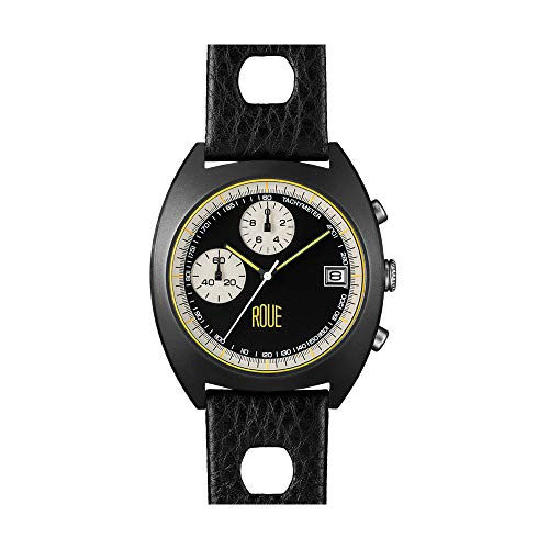 Roue CHR Two Chronograph Men's Watch, 1970s Racing Style, 41.5mm Black PVD Sand Blasted Stainless Steel case, Silicone + Soft Leather Straps, Sapphire Crystal with Anti-Reflective Treatment Glass