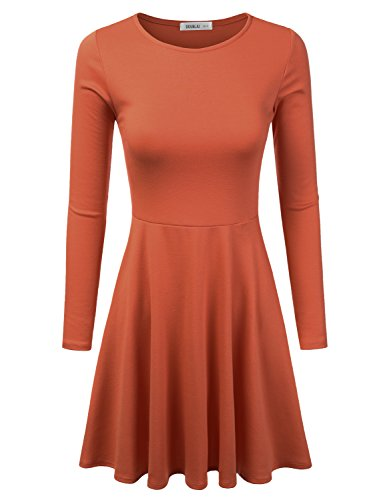 Doublju Stretchy Knit Flared Skater Dress (Made In USA / Plus size available) RUST 3XL (Cheap Fancy Dress Plus Size)