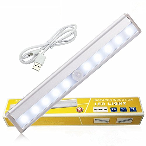 12' Magnetic Bar - GEREE LED Cabinet Lights, USB Rechargeable Wireless PIR Motion Sensing Light Bar with Magnetic Strip Wall Light ,White Light