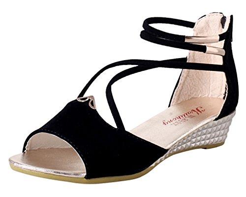 Minetom Damen Sommer Sandalen Peep Toe Schuhe Retro Stil Keilabsatz Sandalen Schwarz