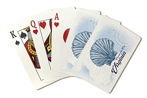Chesapeake Bay, Virginia - Scallop Shell - Blue - Coastal Icon (Playing Card Deck - 52 Card Poker Size with Jokers)