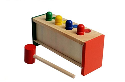 Cheap Educational Toys : Colorful mini cute wooden hammer pounding bench blow air interesting