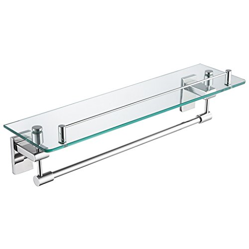 Polished Chrome Glass Clip - ZHEN GUO Modern Floating Glass Shelf with Polished Chrome SUS304 Stainless Steel Towel Bar and Rail, Shower Storage Wall Mounted for Bathroom Lavatory, 18-inch