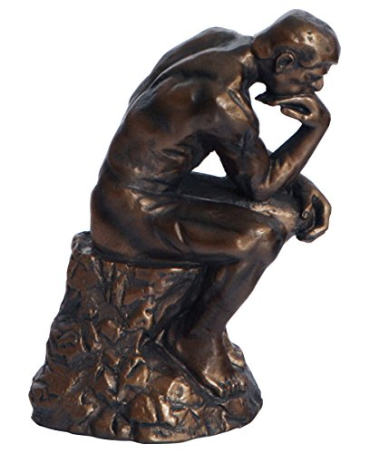 - The Thinker By Rodin Statue, Bronze Color, 5 Inches