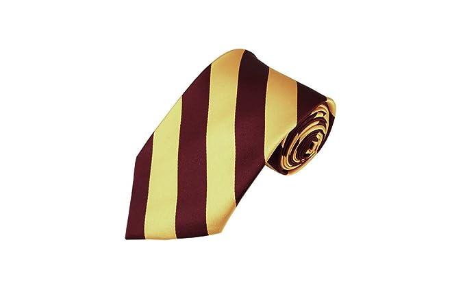 Romario Manzini Corbata de rayas color borgoña y dorado miel ...