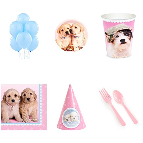 - BirthdayExpress Glamour Dogs Party Supplies Pack for 16 with Cone Hats