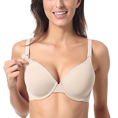 Gratlin Women's Full Coverage Lightly Padded Underwire Maternity Nursing Bra for Breastfeeding Beige 34B