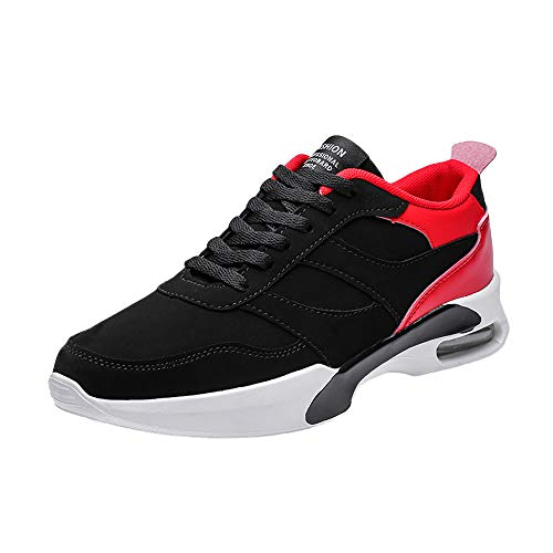 HOSOME Men Sports Shoes Casual Flat Lace-Up Breathable Wear-Resistant Non-Slip Sneakers Red