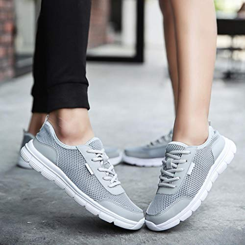 Lace Sneakers Casual Slip Luoluoluo Womens up Mesh Shoes Men Breathable Shoes Canvas Couple Autumn Anti Comfortable Shoes Gray Running Shoes wa0PFPxqtA