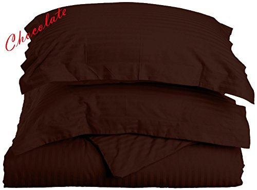 Premium Quality HS Linen Zipper Closure 3-PCs Duvet Cover Set ( 1 PC Duvet Cover, 2 PCs Pillow Shams) Egyptian Cotton, 400-TC Stripe Pattern - Chocolate ( King/Cal-King Size)
