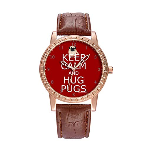 Luxury Watch Brand Popular, Brown Fashion Classy Watch Brand Popular, for Your own or Relatives Friends Lover Men's Watch Personality Pattern Watch Keep Calm Hug Pugs]()