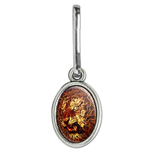 (GRAPHICS & MORE Flaming Fire Tiger Antiqued Oval Charm Clothes Purse Suitcase Backpack Zipper Pull Aid)