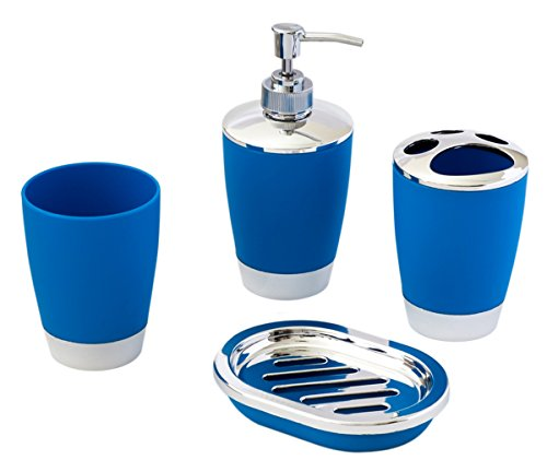 JustNile 4-Piece Bathroom Accessory Set - Fashion Plastic Blue