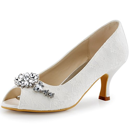 - ElegantPark HP1539 Women Peep Toe Pumps Flower Rhinestones Comfort Heel Lace Wedding Bridal Dress Shoes Ivory US 11