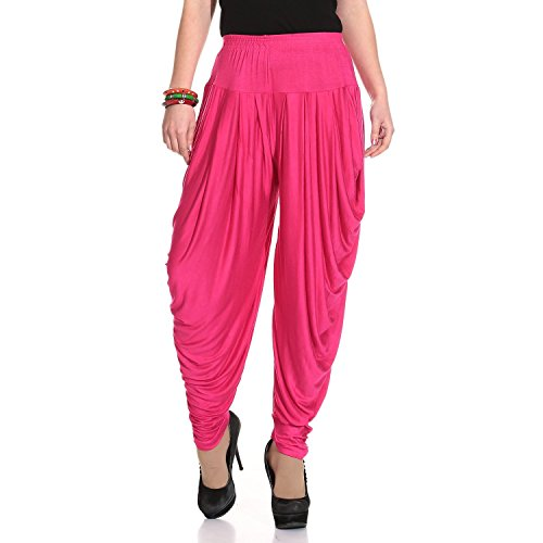 Ardour Dark Pink Relaxed Comfortable Cotton Blend Belly Dance Pants for Women- Free Size by Ardour