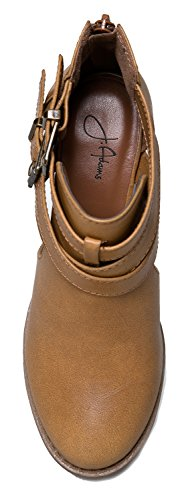 Out by Boot J Leather Low Sammi Bootie Tan Stacked Western Buckle Wood Cut Round Adams Pu Ankle Vegan Heel rrf7wEaq