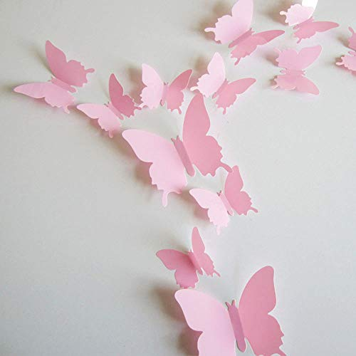 - 24pcs 3D Butterfly Removable Mural Stickers Wall Stickers Decal for Home and Room Decoration (Pink)