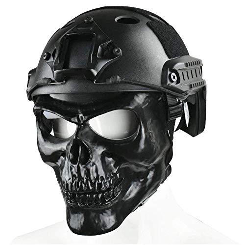 WLXW Mich/Fasthelmet, Masque Complet Skull avec Lunettes et Casque Tactique Rapide/Casque ACH Style Mich 2000 Combiné… 1