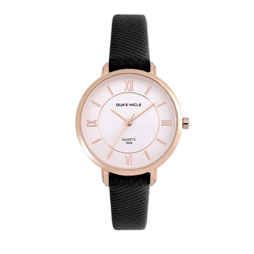 Womens Fashion Watch,Ladies Elegant Waterproof Quartz Rose Gold Case Roman Numeral Casual Wrist Watches for Girls with Soft Genuine Leather Band(Black)