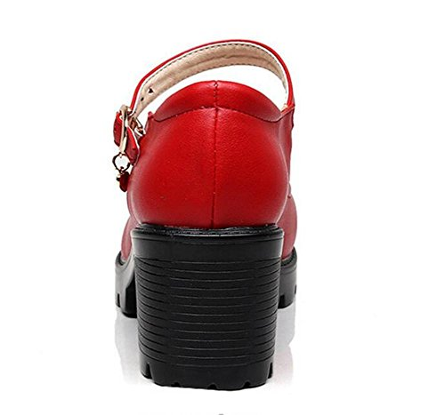 Pompe 39 forme Mary Mid Taille Block Talon Cuir Cour Femmes Cheville Plate Courroie À Chaussures Jane Travail Xie 35 znw4q6UW