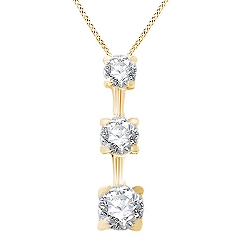 Three Natural Diamond Past Present Future Pendant Necklace 14K Solid Yellow Gold