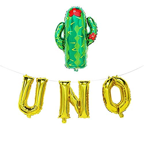 UNO Balloons with Cactus - Gold UNO Banner - Fiesta First Birthday Party Supplies - 1st Birthday Fiesta Decorations