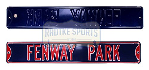 Boston Red Sox Fenway Park Officially Licensed Authentic Steel 36x6 Blue & Red MLB Street Sign Boston Red Sox Street Sign