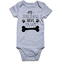 Baby Boys Girls Romper Jumpsuit Short Sleeve Bodysuits Infant Funny One-piece My Sibling Have Paws 3-6 Months
