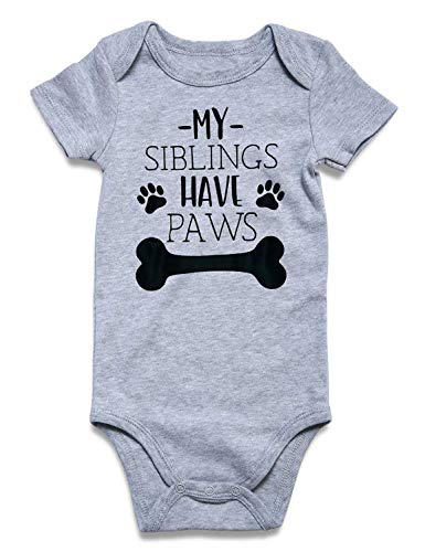 Cutemefy My Sibling Have Paws Cute Novelty Funny Infant One-Piece Baby Bobysuit(My Sibling Have Paws, 6-12 Months)