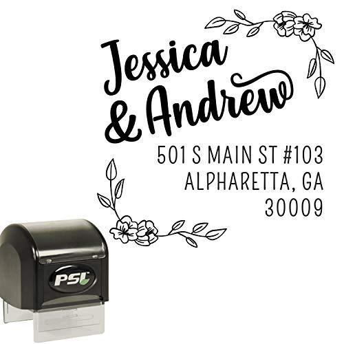 (Address Stamp for Wedding Invitations and RSVP - Self Inking Custom Stamper - Floral- Black Ink)